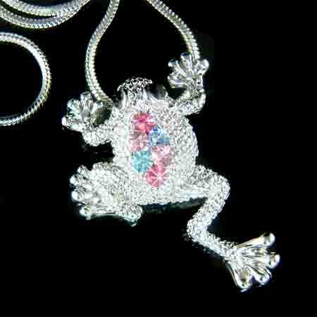Multi-Color Frog Swarovski Crystal Pendant Chain Necklace