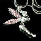 Tinker Bell Swarovski Crystal Pink Tinkerbell Pendant Necklace