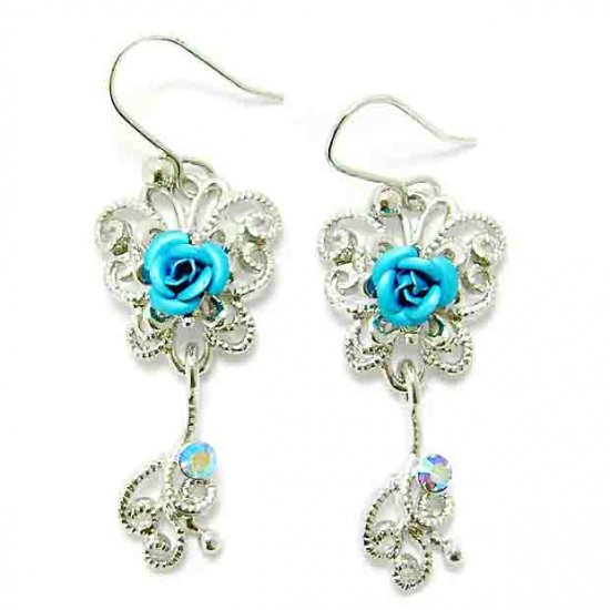 Bridesmaid Aqua Rose Flower Butterfly Swarovski Crystal Earrings
