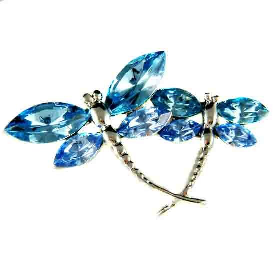 Mother Baby Aqua Dragonfly Swarovski Crystal Brooch