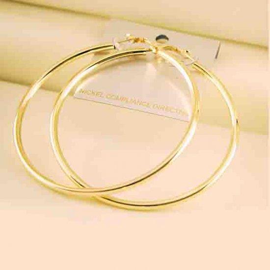 "2 1/2"" (60mm) Large Celebrity Gold-Plated Hoop Earrings"