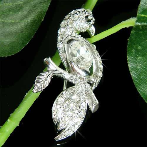 Elegant Parrot Swarovski Crystal Brooch