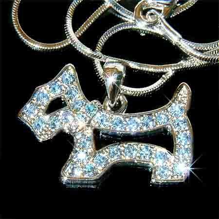 Baby Blue Scottish Westie Dog Swarovski Crystal Necklace