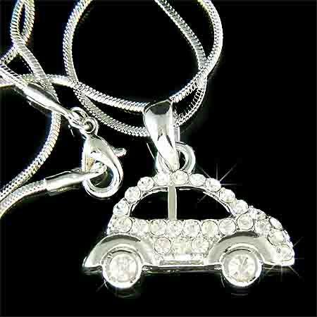 Volkswagen VW Beetle Car Swarovski Crystal Necklace