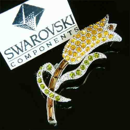 Topaz Gold Brown Tulip Swarovski Crystal Brooch
