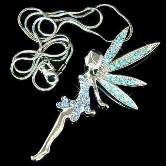 Tinkerbell Fairy Blue Swarovski Crystal Pendant Necklace