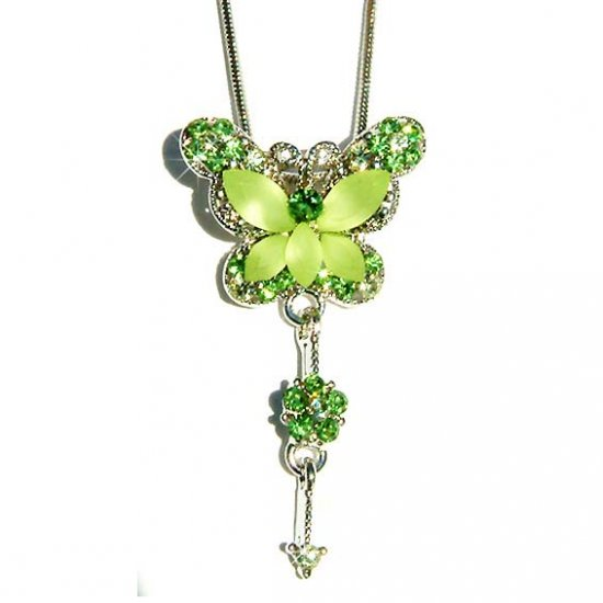 Green Butterfly Dangling Flower Swarovski Crystal Necklace