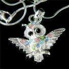 Rainbow Wise Wisdom Owl on the branch Swarovski Crystal Necklace