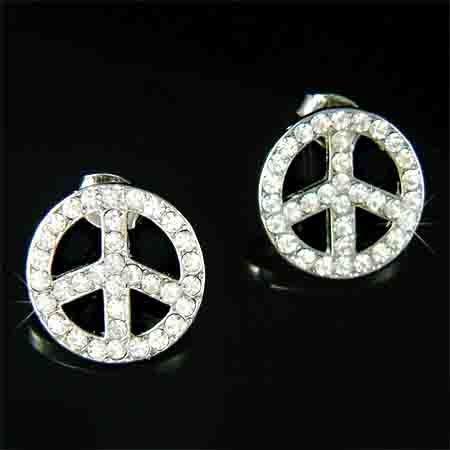 Juicy Awareness Swarovski Crystal Peace Sign Hippie Earrings