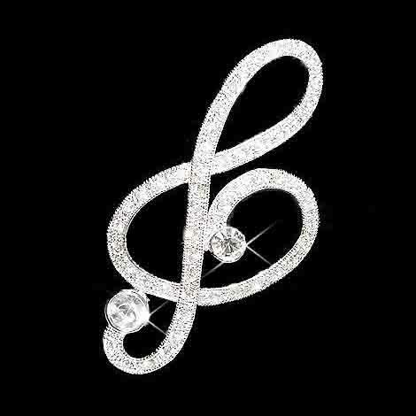 Huge Treble G Clef Swarovski Crystal Music Brooch