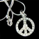 Swarovski Crystal Boho No War Peace Sign Awareness Necklace