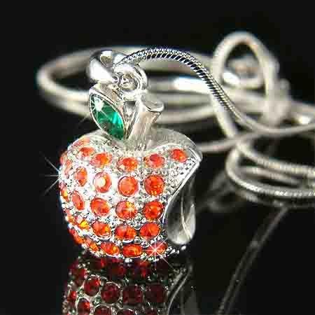 Juicy 3D Red Apple Charm Swarovski Crystal Necklace