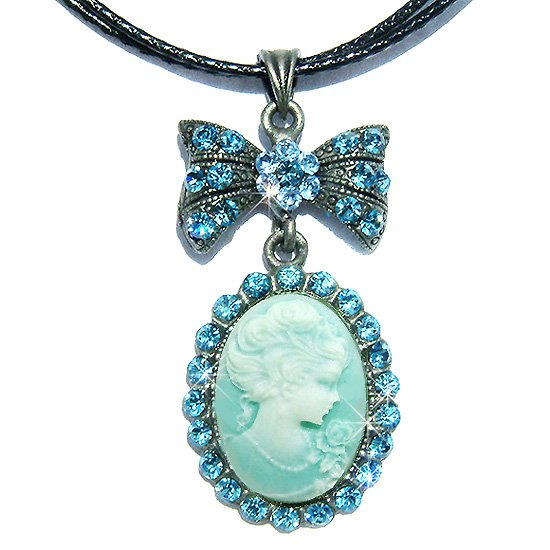 Victorian Aqua Cameo Swarovski Crystal Leather Necklace