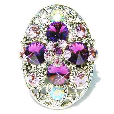Purple Swarovski Crystal Cross Flower Cocktail Ring
