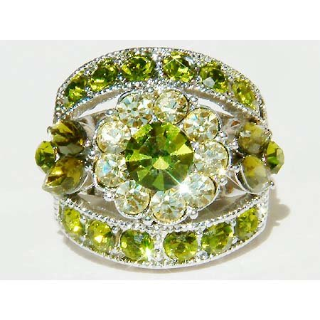 Olivine Green Flower Swarovski Crystal Ring