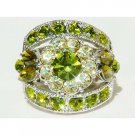 Olivine Green Flower Swarovski Crystal Ring