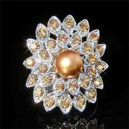 Topaz Gold Swarovski Crystal and Pearl Flower Cocktail Ring