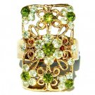 Gold Plated Swarovski Crystal Cutout Flower Rectangle Party Ring