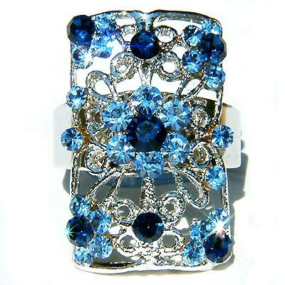 Blue Swarovski Crystal Cutout Flower Rectangle Ring