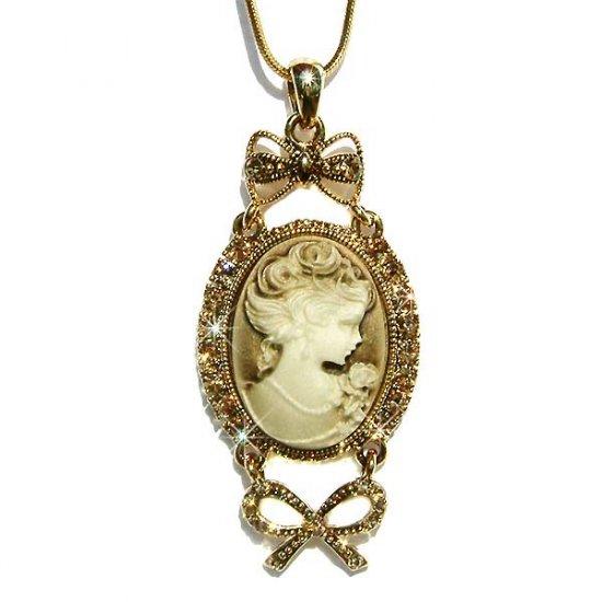 Antique Gold Swarovski Crystal Cameo Bow Pendant Necklace