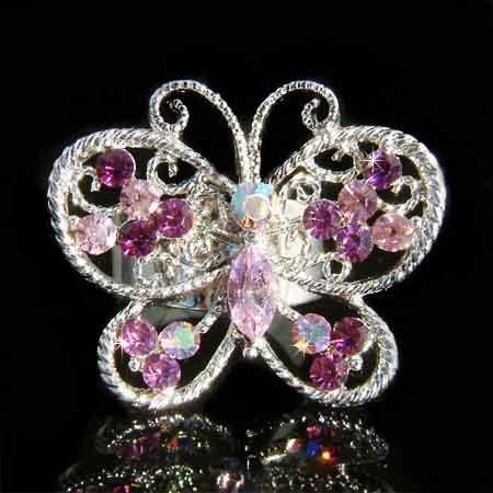 Big Cutout Purple Swarovski Crystal Butterfly Ring