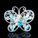 Big Cutout Aqua Swarovski Crystal Butterfly Ring