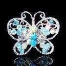 Big Cutout Aqua Swarovski Crystal Butterfly Ring