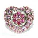 Pink Love Heart Flower Swarovski Crystal Cocktail Ring