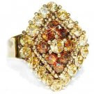 Topaz Gold Diamond Swarovski Crystal Cocktail Ring