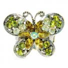 Garden Green Swarovski Crystal Butterfly Cocktail Ring