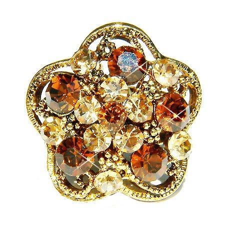 Topaz Gold Swarovski Crystal Flower Cocktail Ring
