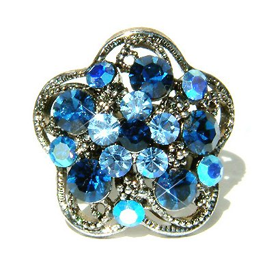 Blue Swarovski Crystal Flower Cocktail Ring