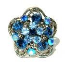 Blue Swarovski Crystal Flower Cocktail Ring