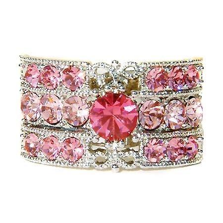 Pink Rectangle Swarovski Crystal Party Ring