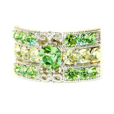 Peridot Green Rectangle Swarovski Crystal Party Ring