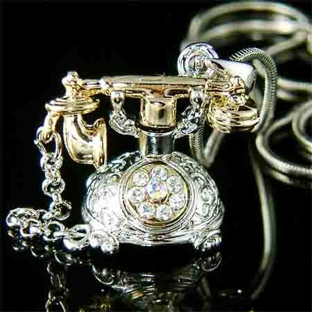 Swarovski Crystal Antique Miniature Rotary Telephone Necklace