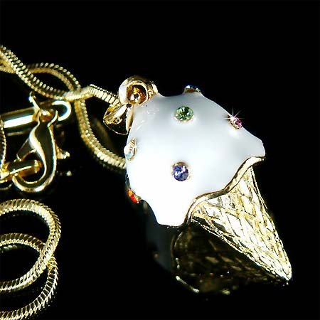 Juicy Vanilla Ice Cream Cone Swarovski Crystal Necklace
