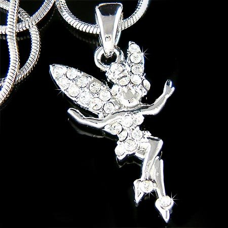 Clear Fairy Swarovski Crystal Tinkerbell Pendant Necklace