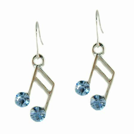 Baby Blue Swarovski Crystal 16th Music Note Earrings