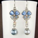 Something Blue Butterfly Swarovski Crystal Earrings for Wedding