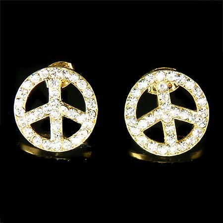 Awareness Juicy Gold Peace Sign Swarovski Crystal Stud Earrings
