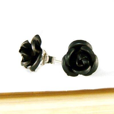 Black Bridal Wedding Simple Rose Flower Stud Earrings