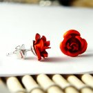 Bridal Wedding Simple Hot Red Rose Flower Stud Earrings