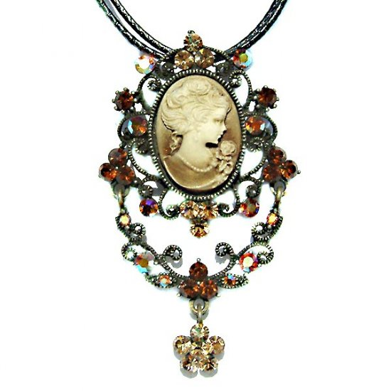 Topaz Gold Brown Victorian Cameo Necklace Brooch