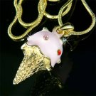Juicy Strawberry Ice Cream Cone Swarovski Crystal Necklace