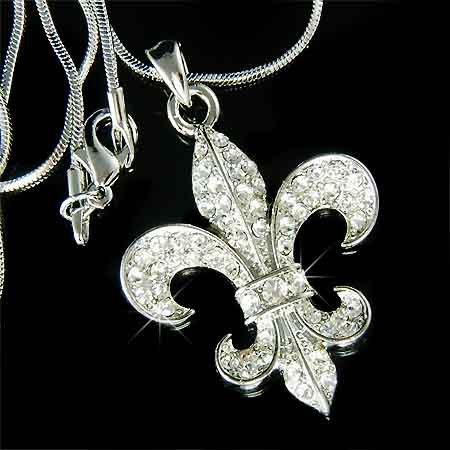 Celebrity Crystal Fleur de Lis Iris Lily Flower Flag Necklace