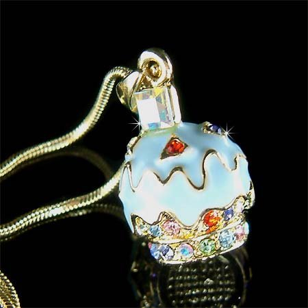 Juicy Blueberry Cupcake Swarovski Crystal Necklace