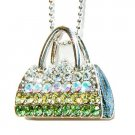 Green Handbag / Purse Swarovski Crystal Necklace