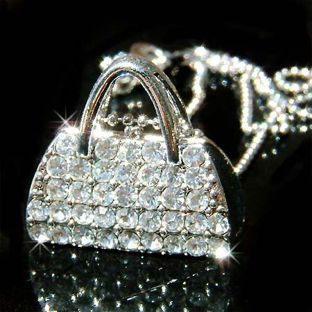 Clear Handbag / Purse Swarovski Crystal Necklace