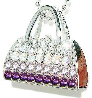 Purple Handbag / Purse Swarovski Crystal Necklace